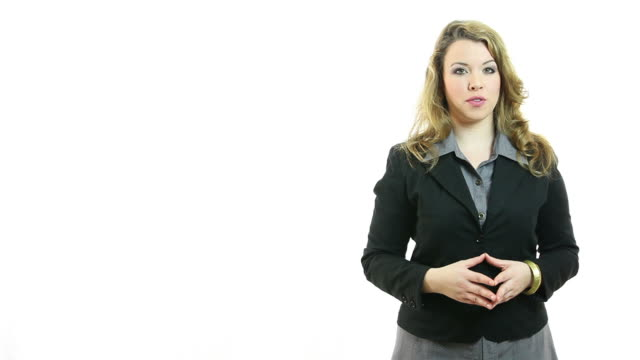Young businesswoman standing and talking video