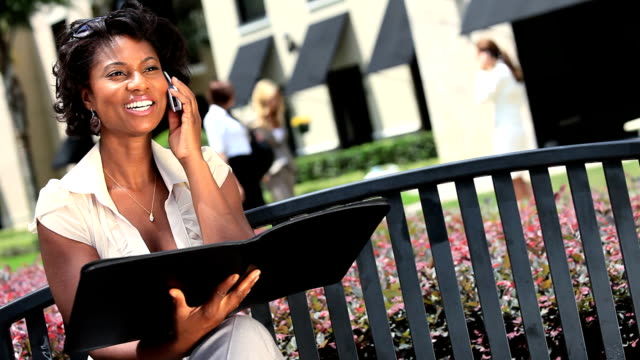 Young Businesswoman Working Outdoors video