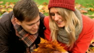 Young Caucasian couple in park autumn day video
