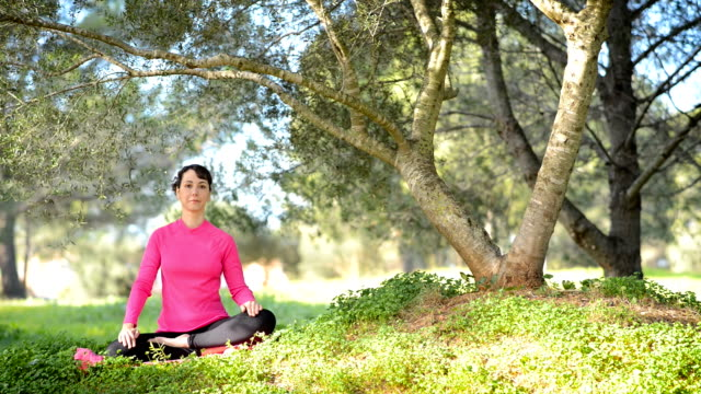 young caucasian woman practicing meditation outdoors video