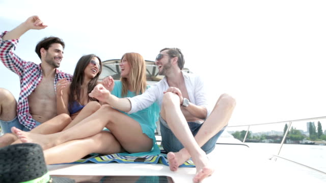 HD: Young Cheerful People Yachting Together. video