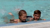 Young children in the pool video