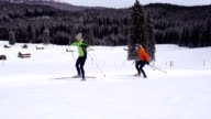 HD: Young couple at Cross Country Skiing video