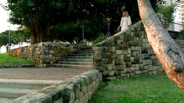 Young couple descends stone park staircase holding hands video