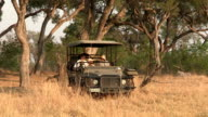 Young couple enjoying a game drive on safari in Botswana video