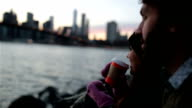 Young Couple Enjoying Sunset at Brooklyn Bridge, NYC video