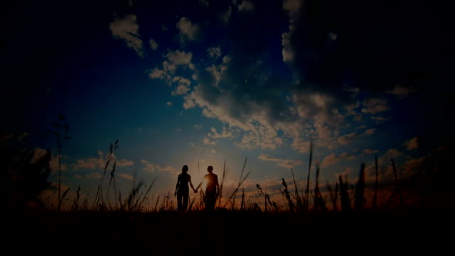 Young couple enjoying the sunset in the meadow video