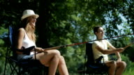 HD: Young Couple Fishing Together. video