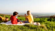 Young couple having a romantic picnic in nature video