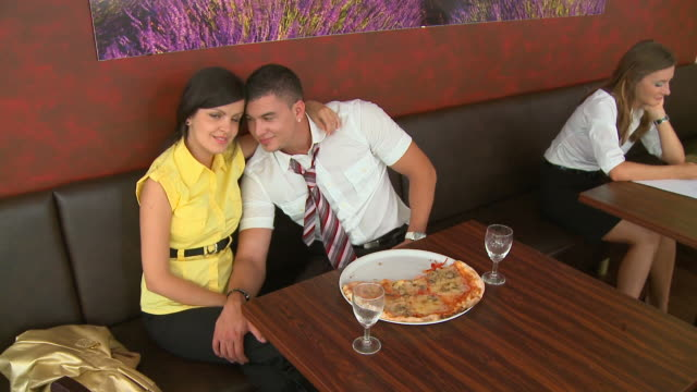 HD CRANE: Young Couple In A Café video