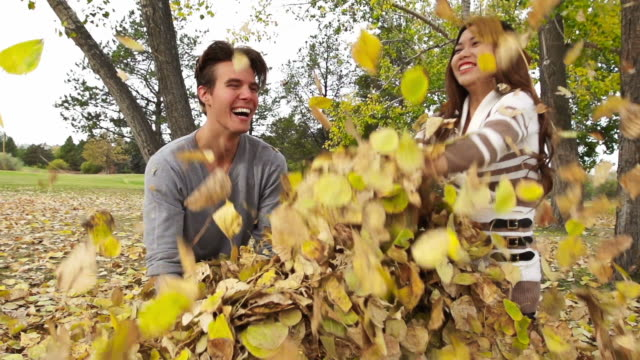 Young couple in the fall leaves video