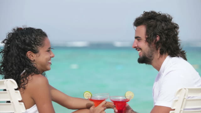 Young couple on a Tropical turquoise beach video