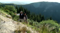 young couple on hiking video