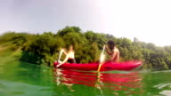 Young couple paddling canoe video