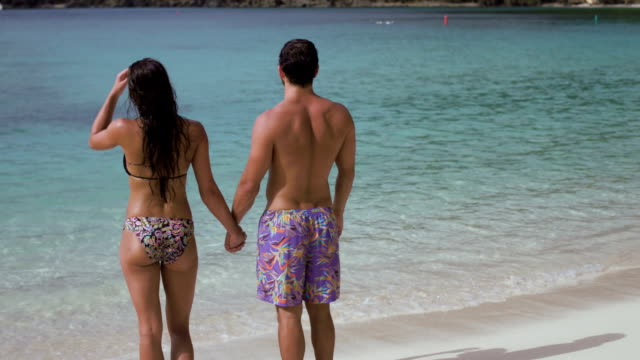 Young couple relaxing on a tropical beach video