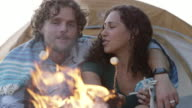 Young Couple Roasting Marshmallows by the Fire video