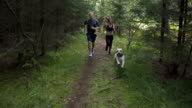 SLOW MOTION: Young couple running behind the dog video