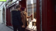 Young couple shopping in the city video