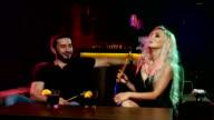 Young couple smoking hookah video