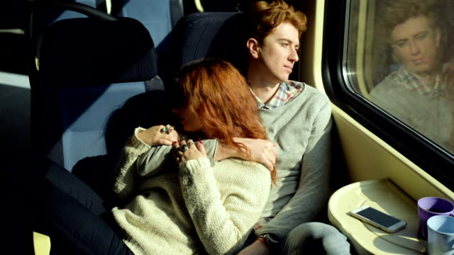 Young couple traveling by the train video