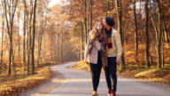 Young couple walking in the forest video