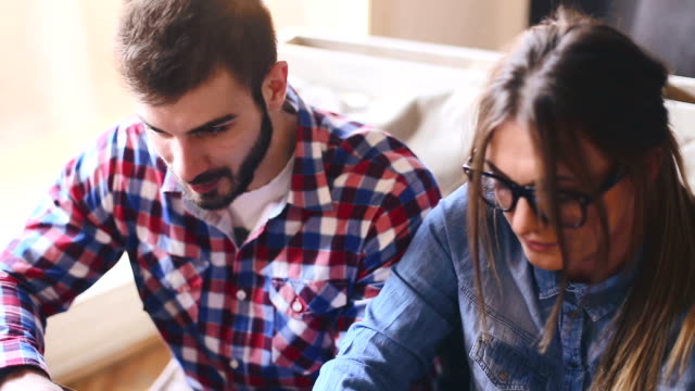 Young Creative Couple Working Together video
