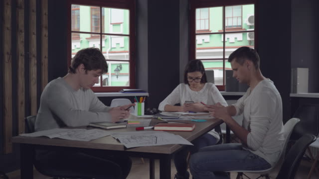 Young employees with client use devices on the meeting video