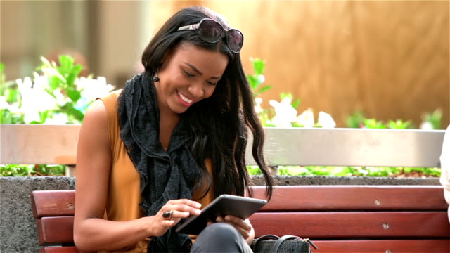 Young entrepreneur woman with tablet computer video