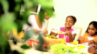 Young Ethnic Family Eating a Healthy Lunch video