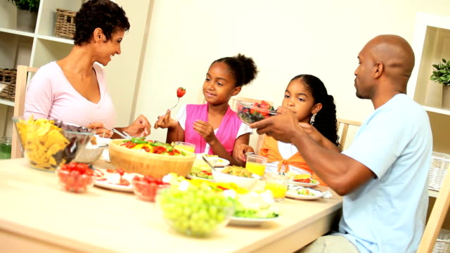 Young Ethnic Family Sharing Healthy Lunch video