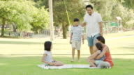 Young ethnic family with three children relaxing together outdoors in a park on a blanket video