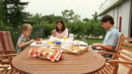 HD DOLLY: Young Family At Breakfast video