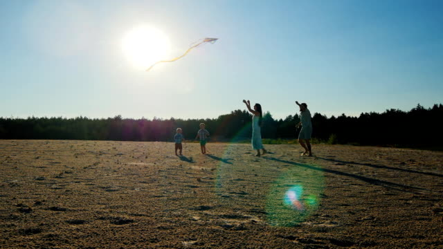 Young family - Mom, Dad and two sons are playing with a kite video