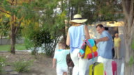 Young family with child arriving to the grandparents video