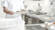 Young female chef presenting food video