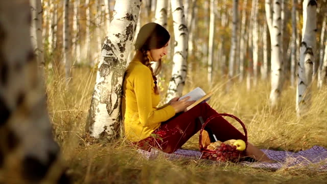 Young Female Picnic Reading Book healthy video