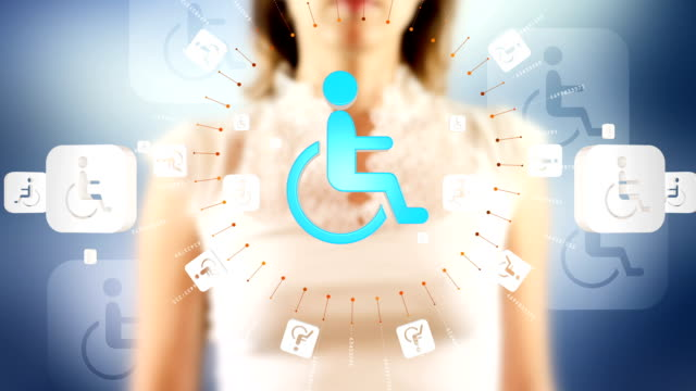 Young female pressing the screen then handicapped symbol appearing video