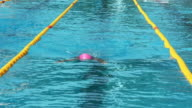 HD: Young female professional swimmer at breast stroke video