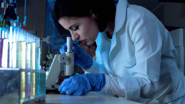 Young female scientist looking down a microscope video