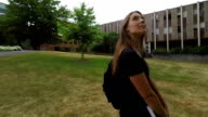 Young Female Student on College Campus video