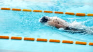 HD: Young Female Swimmer at Butterfly stroke video