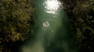 AERIAL: Young female swimming in refreshing river in wilderness on sunny day video
