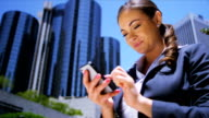 Young female talking on smart phone video