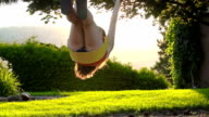Young  female teen on a tree swing at sunset video