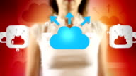 Young Female Touching On Cloud Uploading Symbols Appears video