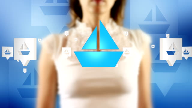Young Female Touching On Sailboat Symbols Appears video