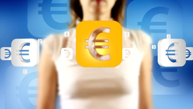 Young Female Touching On Screen Euro Currency Symbols Appears video