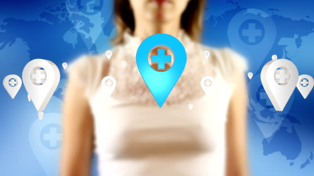 Young Female Touching On Screen Map Pin Icons Appears video