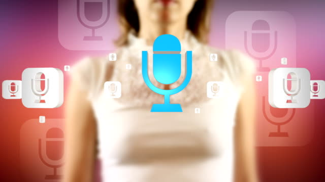 Young Female Touching On Screen Microphone Symbols Appears video