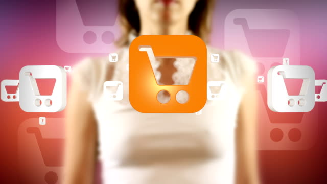 Young Female Touching On Screen Shopping Cart Symbols Appears video